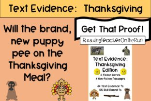 Text Evidence:  Thanksgiving Edition! Graphic 3rd grade By Reading Teacher On The Run