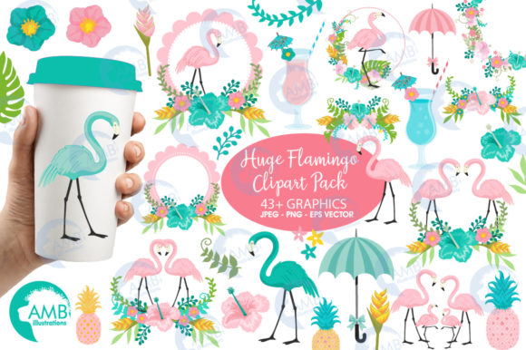 Tropical Flamingos Clipart Graphic Illustrations By AMBillustrations