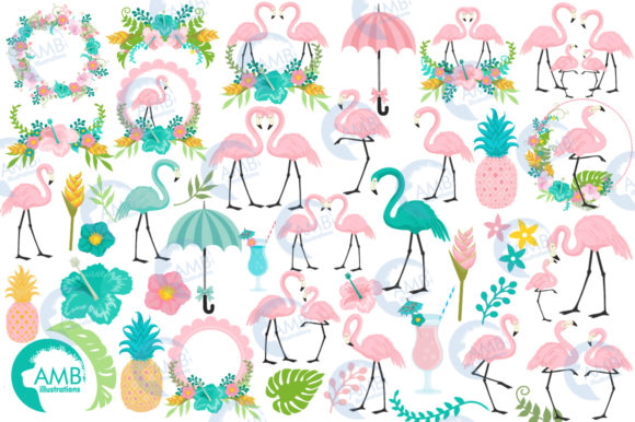 Tropical Flamingos Clipart Graphic Illustrations By AMBillustrations - Image 4