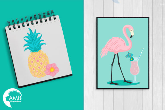 Tropical Flamingos Clipart Graphic Illustrations By AMBillustrations - Image 5