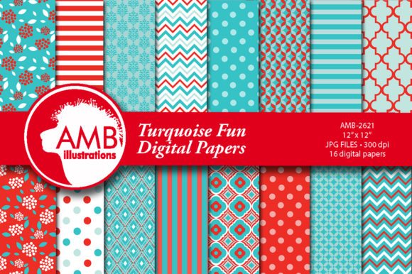 Turquoise Fun Floral Patterns Graphic Patterns By AMBillustrations