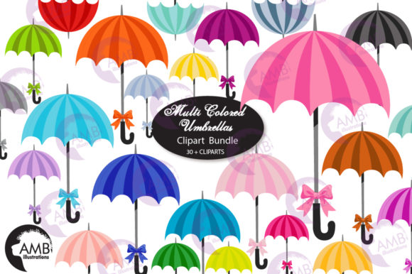 Umbrellas Color on Color Clipart Graphic Illustrations By AMBillustrations