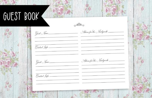 Wedding Guest Book Kdp Template Graphic By