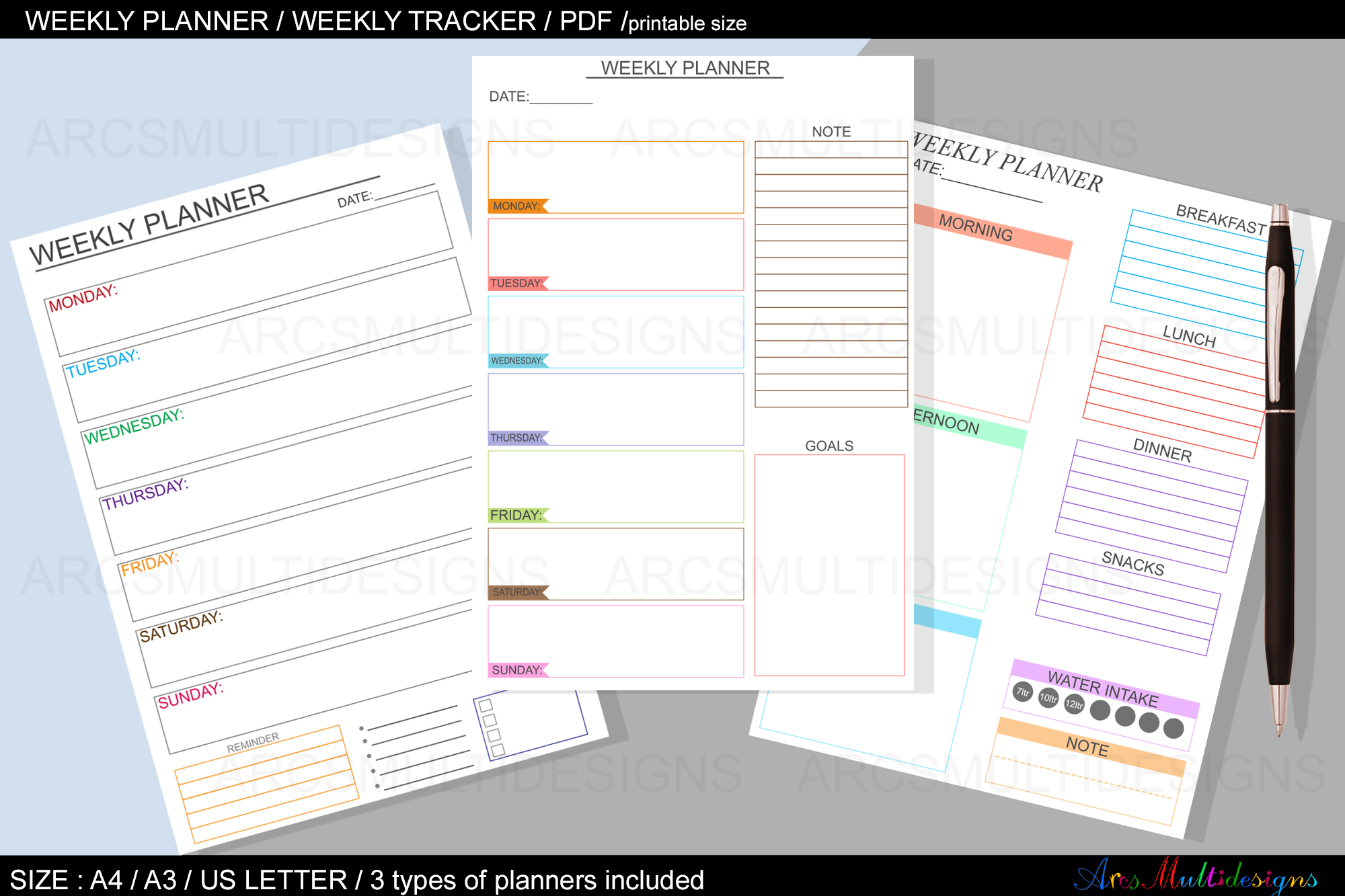 Download Free Weekly Planner Printable Undated Graphic By Arcs Multidesigns for Cricut Explore, Silhouette and other cutting machines.