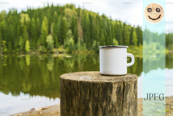 Print on Demand: White Campfire Mug Mockup with River Graphic Product Mockups By TasiPas
