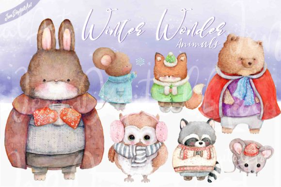 Winter Wonder Animals Graphic Illustrations By Jen Digital Art