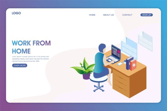 Print on Demand: Work from Home Landing Page Graphic Landing Page Templates By edywiyonopp