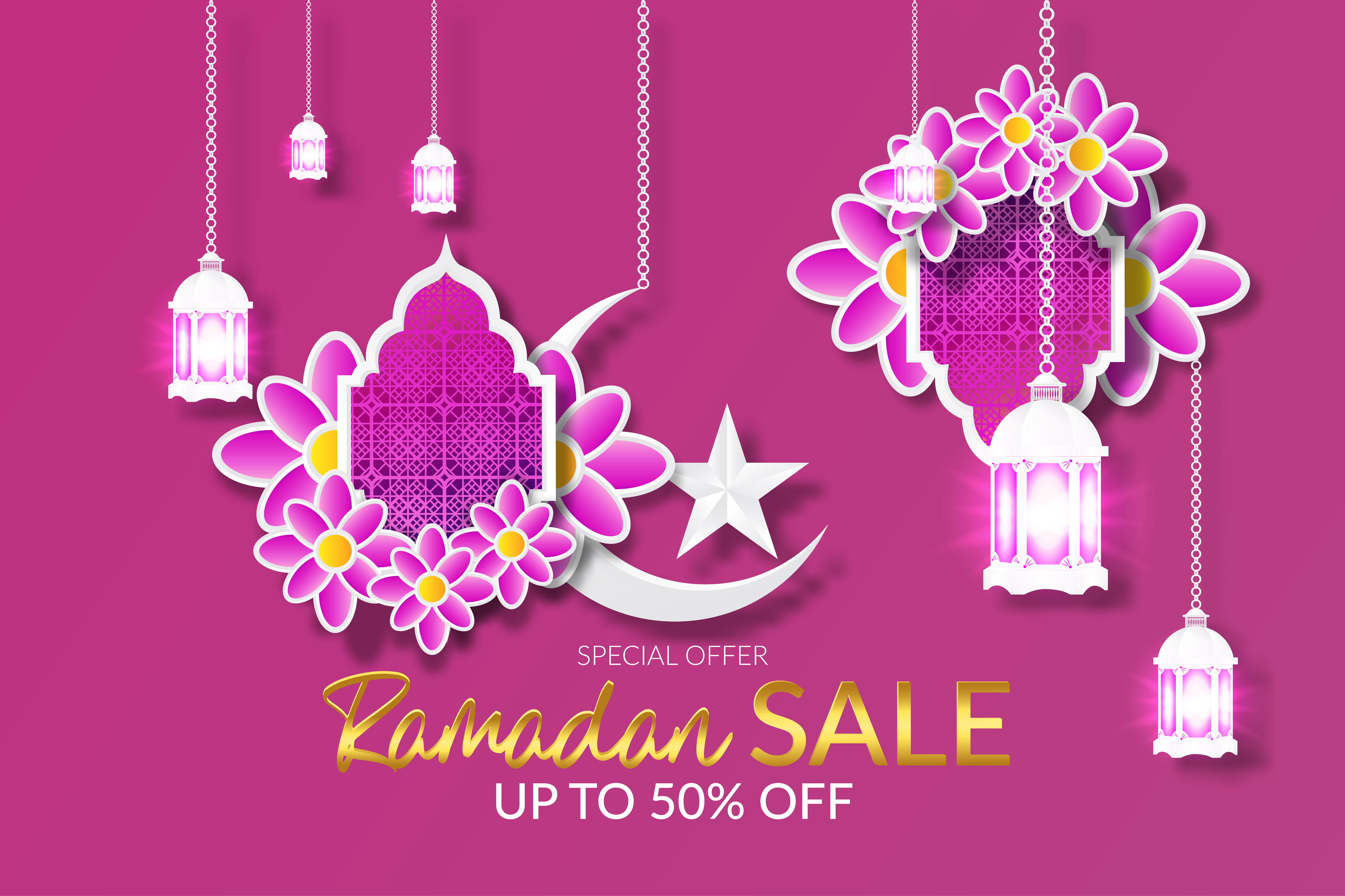 Download Free Ramadan Sale Islamic Special Offer Graphic By Ngabeivector for Cricut Explore, Silhouette and other cutting machines.