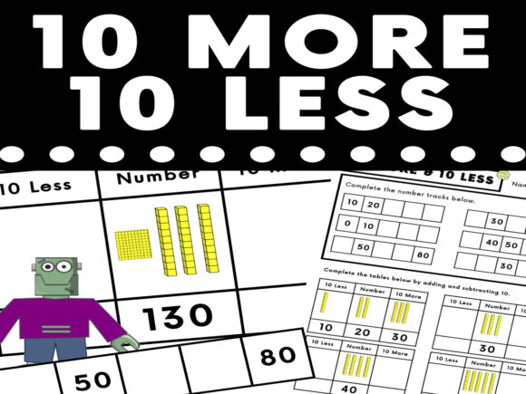 Download Free 10 More 10 Less Visual Worksheet Graphic By Saving The Teachers for Cricut Explore, Silhouette and other cutting machines.