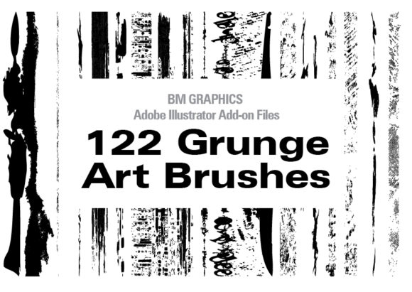 Print on Demand: 122 Grunge Art Brushes Graphic Add-ons By GraphicsBam Fonts