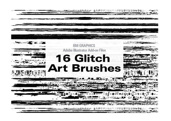 Print on Demand: 16 Glitch Art Brushes for Illustrator Graphic Add-ons By GraphicsBam Fonts