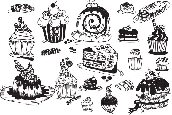 Print on Demand: 20 Handrawn Cupcakes Graphic Illustrations By Fillo Graphic