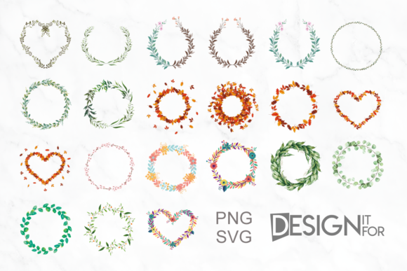 Print on Demand: 21 Floral and Greenery Wreath Graphic Illustrations By DesignItfor