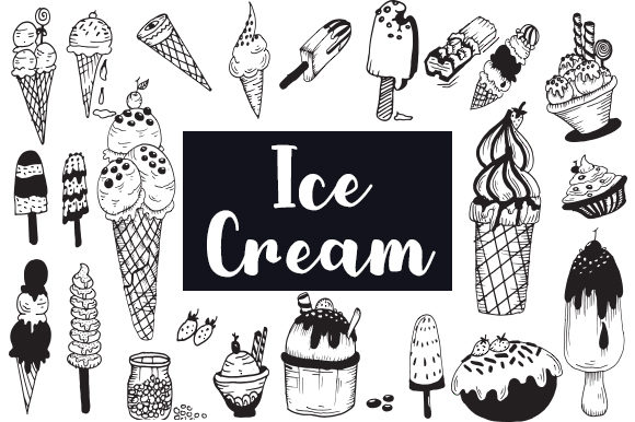 Print on Demand: 24 Handrawn Ice Cream Graphic Illustrations By Fillo Graphic