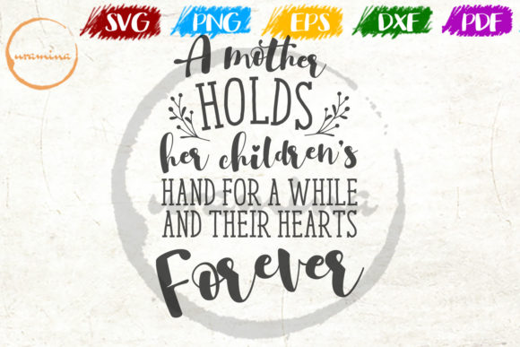 Download Free A Mother Holds Her Children S Hand Graphic By Uramina Creative for Cricut Explore, Silhouette and other cutting machines.