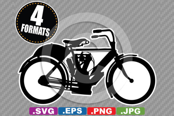 Download Free Antique Vintage Motorcycle Silhouette Graphic By for Cricut Explore, Silhouette and other cutting machines.
