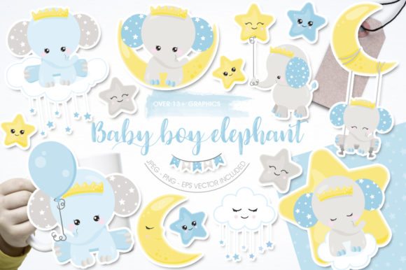 Print on Demand: Baby Boy Elephant Graphic Illustrations By Prettygrafik