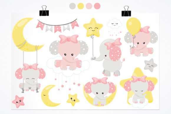 Print on Demand: Baby Girl Elephant Graphic Illustrations By Prettygrafik - Image 2