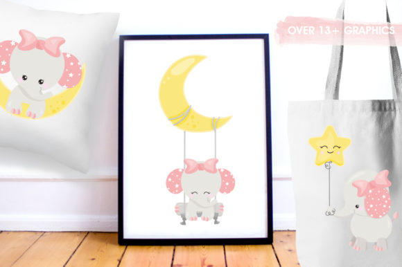 Print on Demand: Baby Girl Elephant Graphic Illustrations By Prettygrafik - Image 5