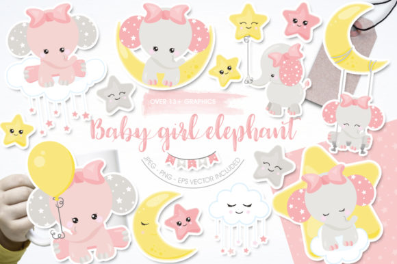 Print on Demand: Baby Girl Elephant Graphic Graphic Templates By Prettygrafik