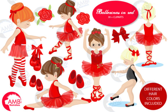 Ballerinas in Red Graphic Illustrations By AMBillustrations