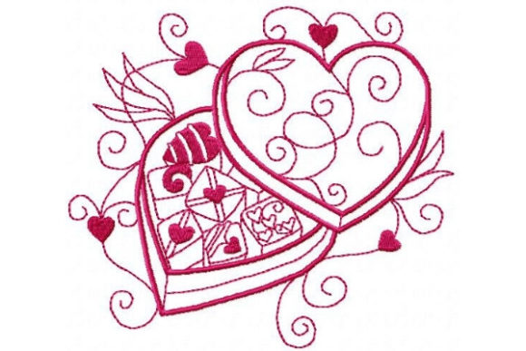 Box of Chocolate Valentine's Day Embroidery Design By Sue O'Very Designs