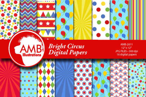 Bright Circus Patterns Graphic Patterns By AMBillustrations