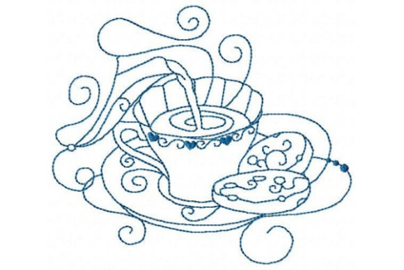 British Cup of Tea Tea & Coffee Embroidery Design By Sue O'Very Designs