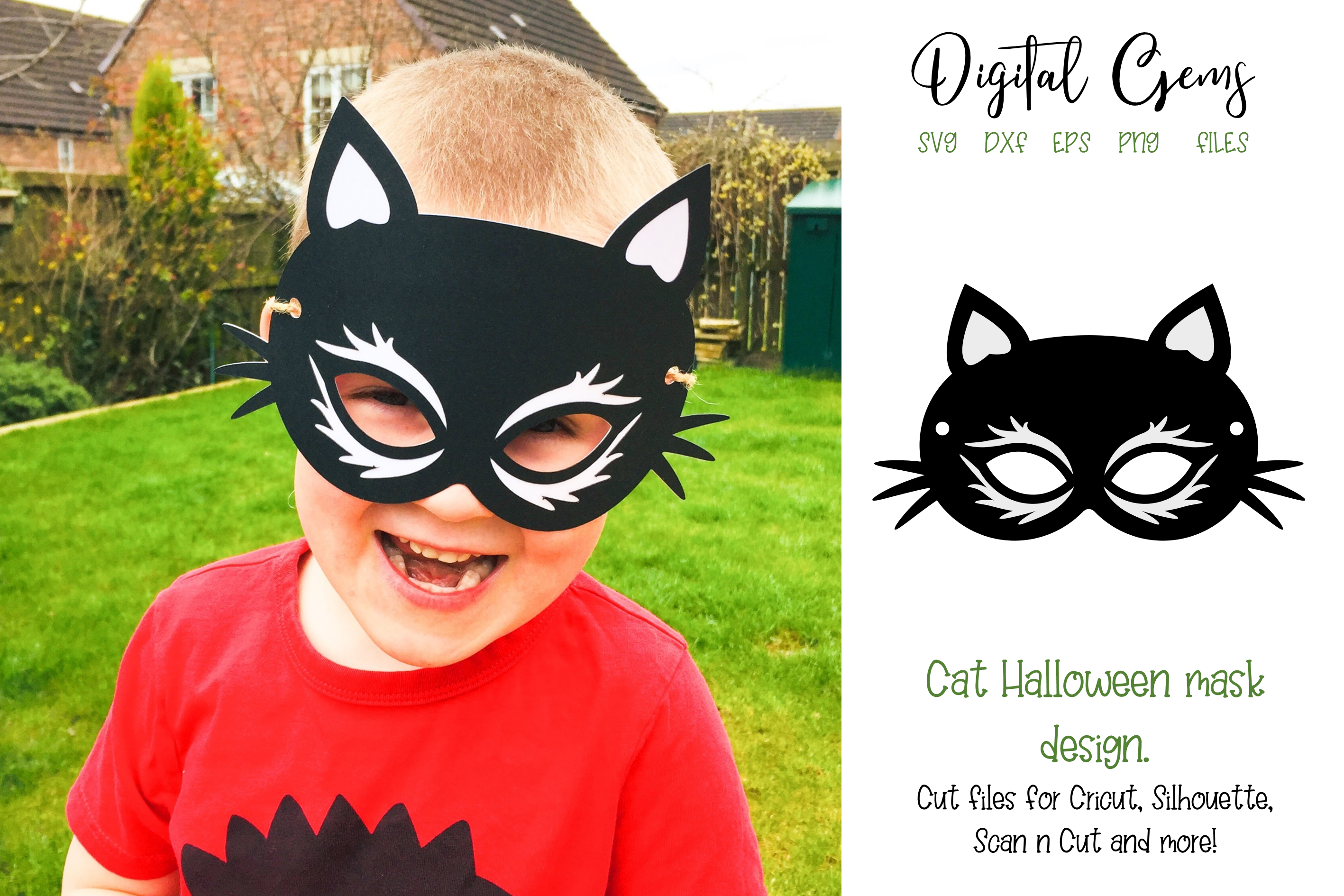 Download Free Cat Mask Design Graphic By Digital Gems Creative Fabrica for Cricut Explore, Silhouette and other cutting machines.