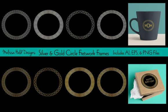 Circle Fretwork Frames Graphic Illustrations By Melissa Held Designs