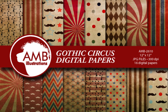 Circus Gothic Patterns Gráfico Moldes Por AMBillustrations