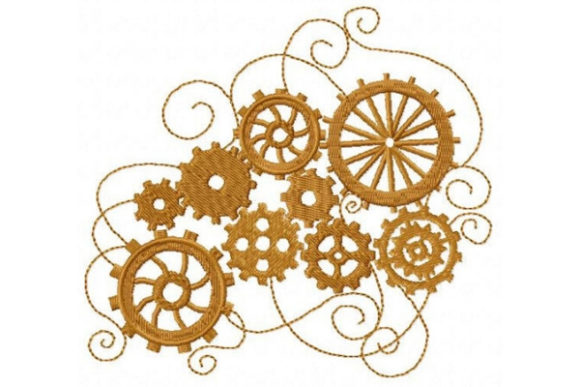 Cluster of Gears Shapes Embroidery Design By Sue O'Very Designs