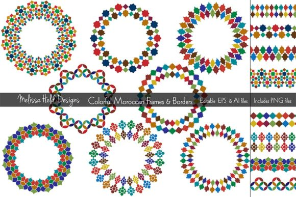 Download Free Colorful Moroccan Frames Borders Graphic By Melissa Held for Cricut Explore, Silhouette and other cutting machines.