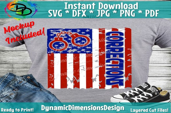 Download Free Corrections Officer American Flag Graphic By Dynamicdimensions for Cricut Explore, Silhouette and other cutting machines.