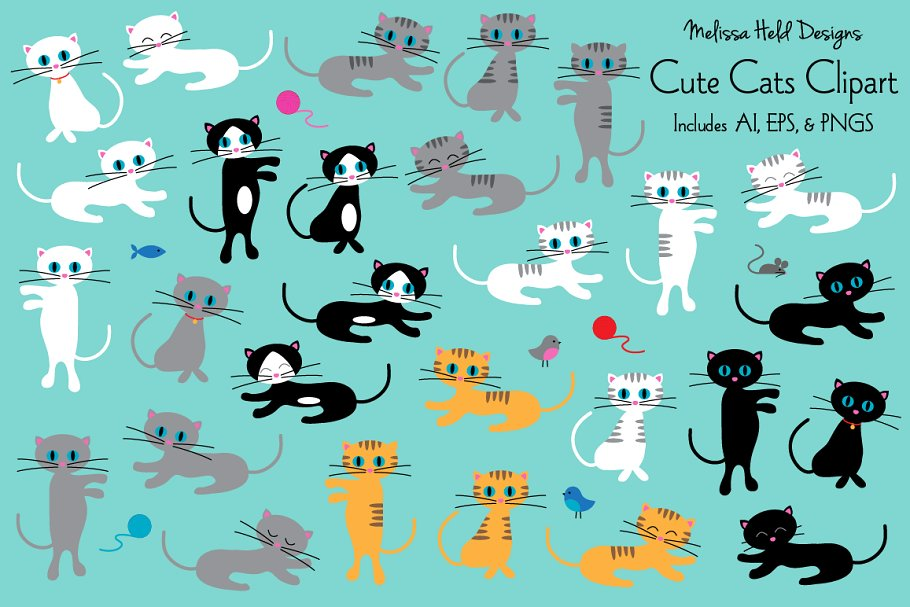 Download Free Cute Cats Clipart Graphic By Melissa Held Designs Creative Fabrica for Cricut Explore, Silhouette and other cutting machines.