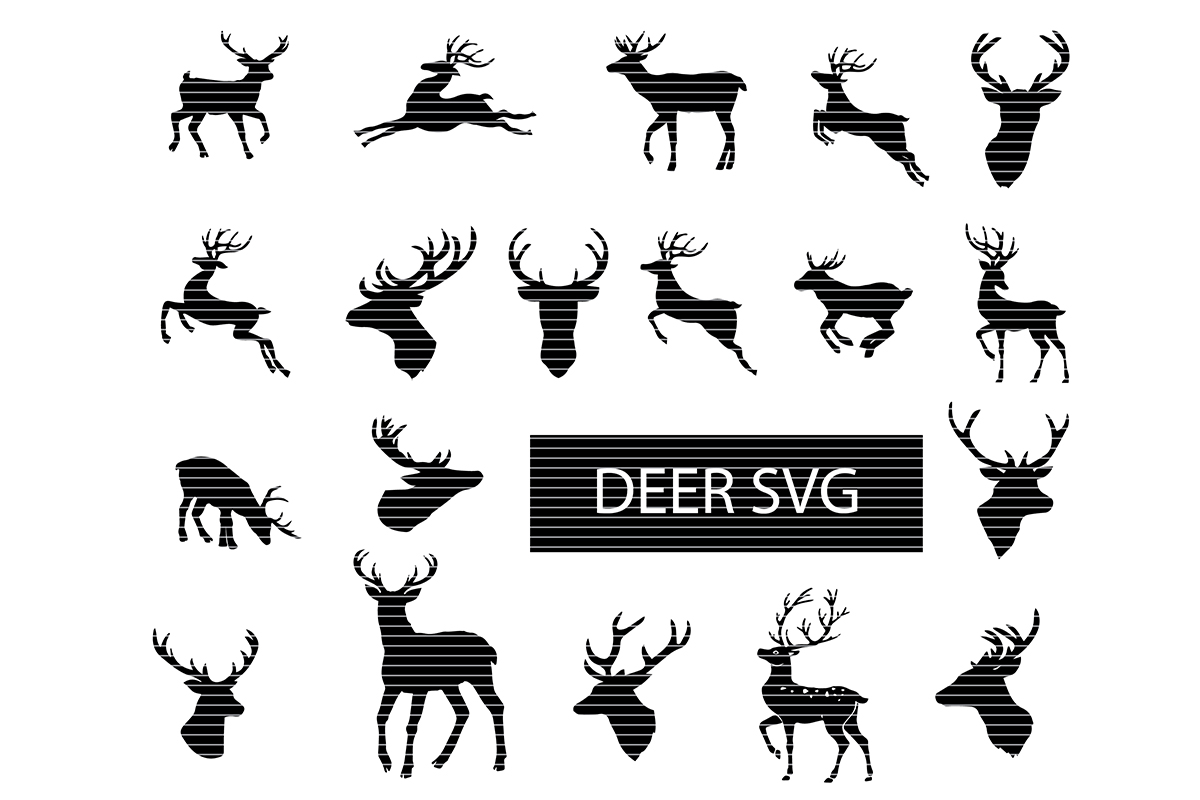 Download Free Deer Silhouette Clip Art Bundle Graphic By Meshaarts Creative for Cricut Explore, Silhouette and other cutting machines.