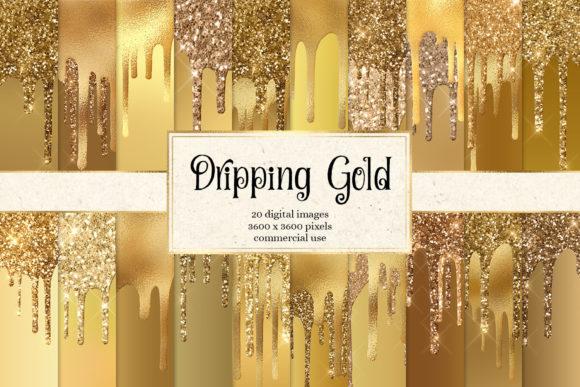 Print on Demand: Dripping Gold Digital Paper Grafik Texturen von Digital Curio
