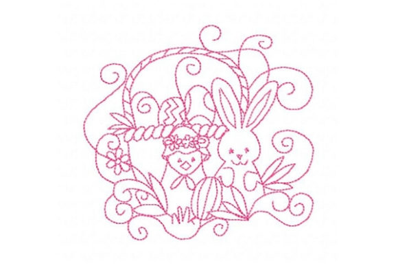 Easter Basket with Bunny and Chick Easter Embroidery Design By Sue O'Very Designs