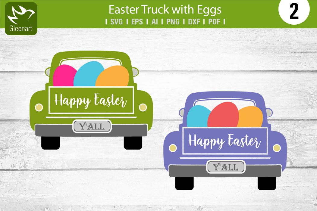 Download Free Easter Truck With Eggs Graphic Graphic By Gleenart Graphic for Cricut Explore, Silhouette and other cutting machines.