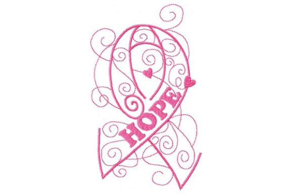 Enchanted Ribbon of Hope Awareness Embroidery Design By Sue O'Very Designs - Image 1