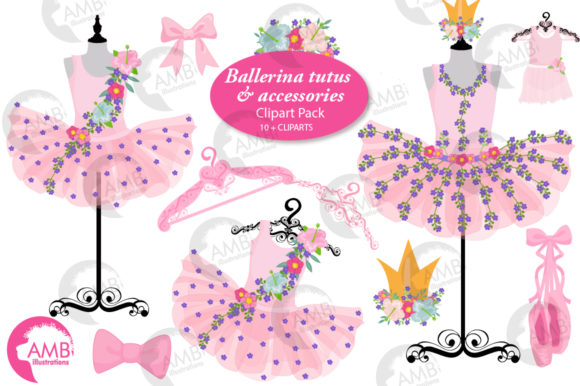 Floral Ballerina Tutus Clipart Graphic Illustrations By AMBillustrations - Image 1