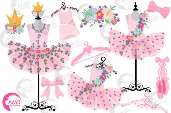 Floral Ballerina Tutus Clipart Graphic Illustrations By AMBillustrations - Image 4