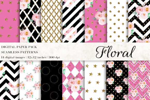 Floral Digital Papers Graphic Patterns By BonaDesigns - Image 1