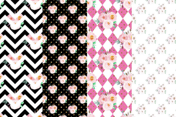 Floral Digital Papers Graphic Patterns By BonaDesigns - Image 2