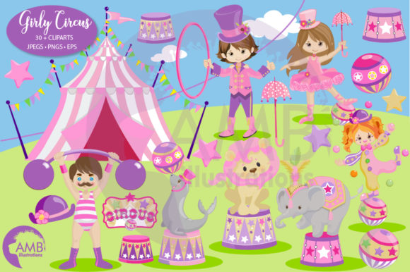 Girly Circus Clipart Grafik Illustrationen von AMBillustrations