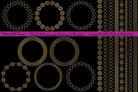 Gold Moroccan Frames & Borders Graphic Patterns By Melissa Held Designs