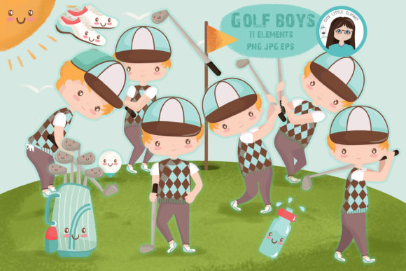 Download Free Golf Boys Clipart Graphic By Cutelittleclipart Creative Fabrica for Cricut Explore, Silhouette and other cutting machines.