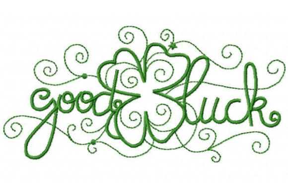 Good Luck with Clover St Patrick's Day Embroidery Design By Sue O'Very Designs - Image 1