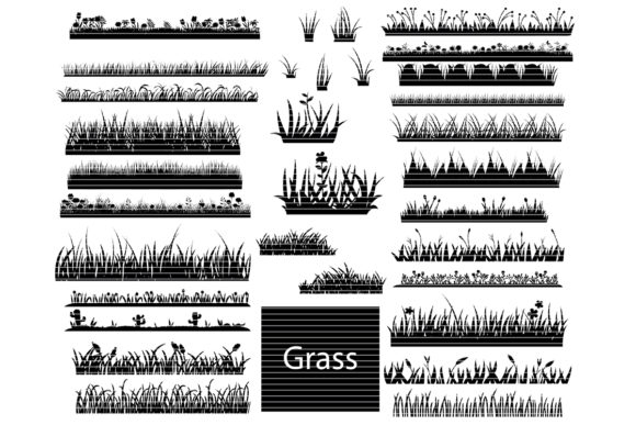 Print on Demand: Grass Clip Art Bundle Graphic Crafts By MeshaArts