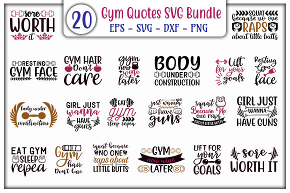Print on Demand: Gym Quotes Bundle Graphic Print Templates By GraphicsBooth